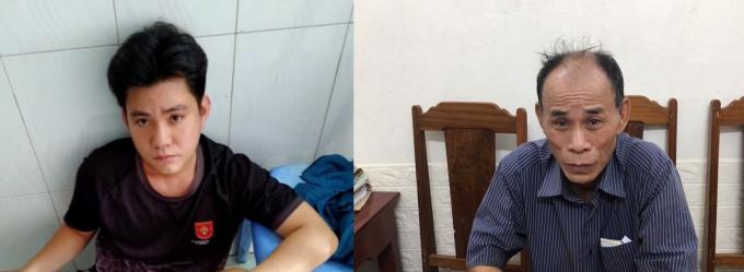 2 đối tượng truy nã Lê Đình Tần(áo xám) và Đặng Sỹ Phú