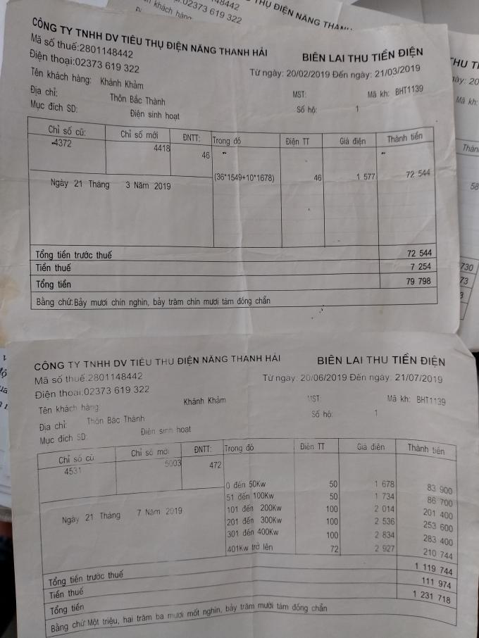 Biên lai thu tiền điện của HTXDV điện năng Thanh Hải tự in và không có đóng dấu