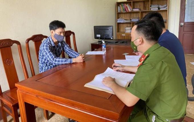 Nguyễn Văn Chung tại cơ quan điều tra. Ảnh CAHT.