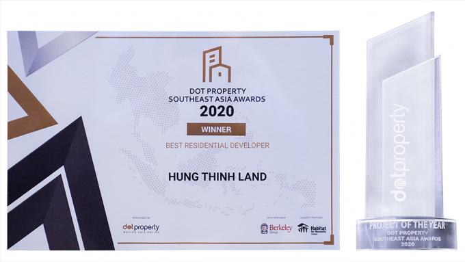 """Chứng nhận """"Best Residential Developer Southeast Asia 2020"""" – Nhà phát triển bất động sản nhà ở tốt nhất Đông Nam Á 2020"""