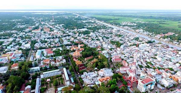 TP Trà Vinh nhìn từ trên cao (Ảnh nguồn Internet).