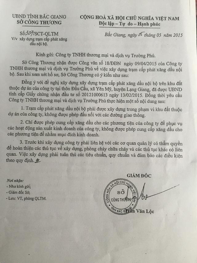 Sở Công thương tỉnh Bắc Giang đồng ý cho Công ty Trường Phú xây dựng cây xăng nội bộ nhưng không được đấu nối vào Quốc lộ, không được kinh doanh...
