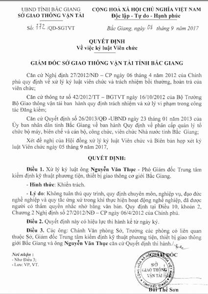 Quyết định kỷ luật ông Nguyễn Văn Thục.