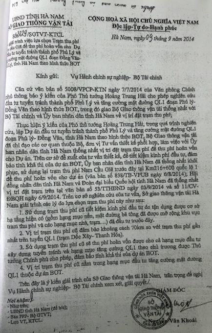 Văn bản của Sở GTVT Hà Nam giải thích lý do lựa chọn vị trí đặt trạm thu phí trên QL1.