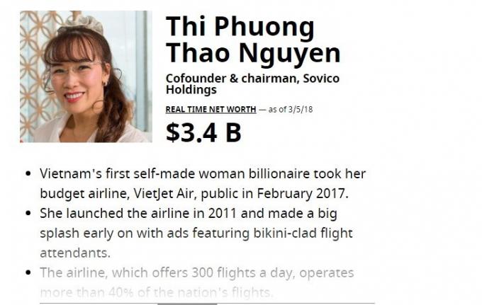 3,4 tỷ USD là tài sản mới nhất của bà Nguyễn Thị Phương Thảo. Ảnh: Forbes.