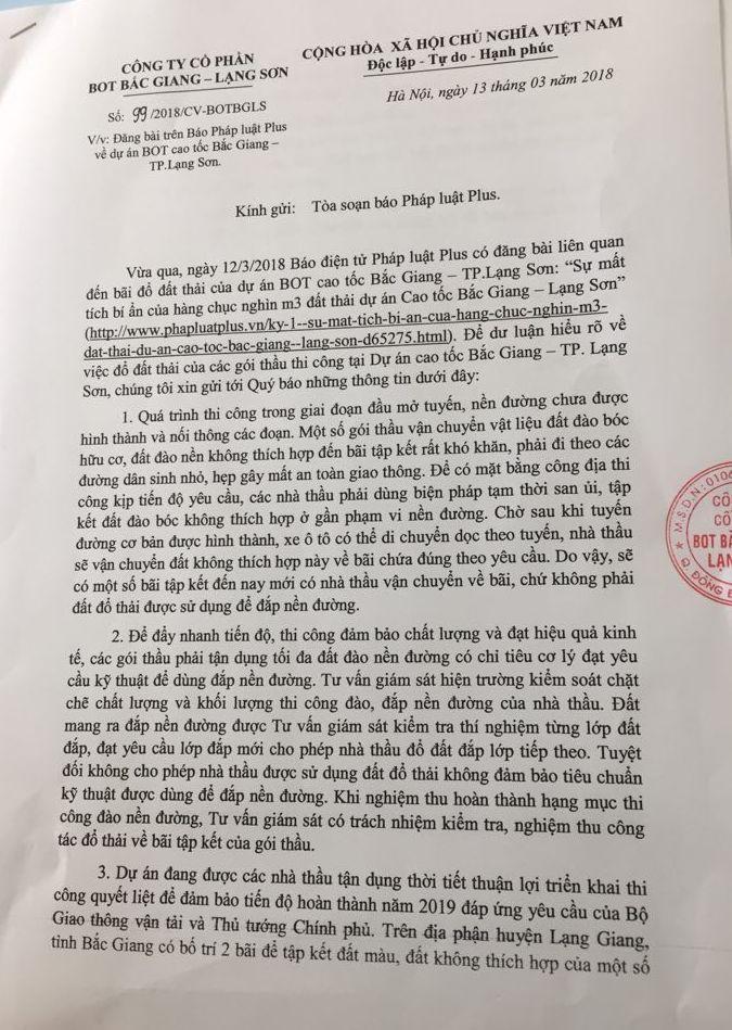 Văn bản trả lời của Công ty CP BOT Bắc Giang - Lạng Sơn không đi kèm theo bất kỳ căn cứ nào.