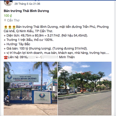 Thông tin rao bán Trường phổ thông Thái Bình Dương.