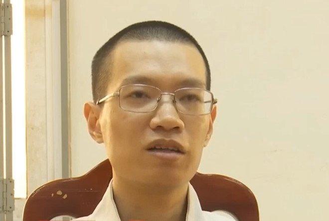 Nghi phạm Nguyễn Anh Tú tại cơ quan công an. Ảnh cắt từ clip truyền hình ANTV.