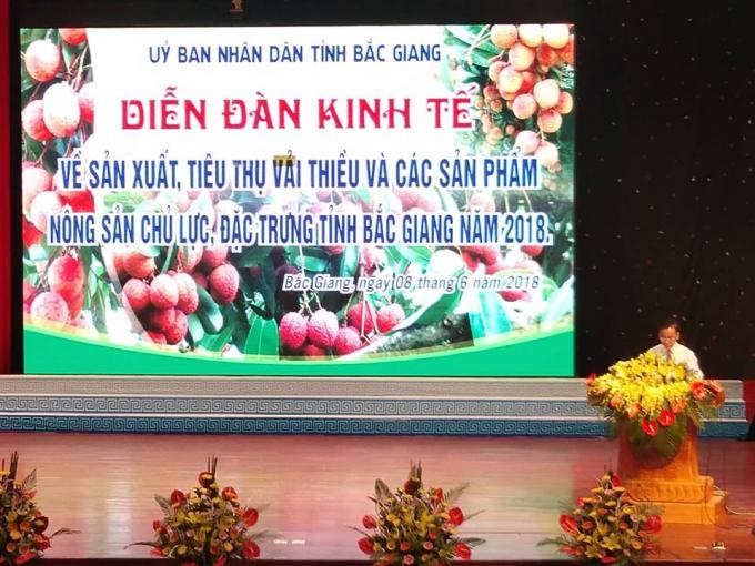 Diễn đàn kinh tế về sản xuất tiêu thụ vải thiều và nông sản chủ lực tại Bắc Giang năm 2018.