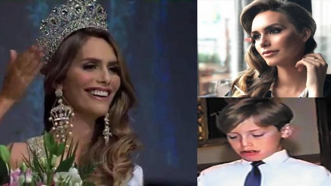 Ángela Ponce thời điểm đăng quang và hình ảnh khi cô còn là một chàng trai.