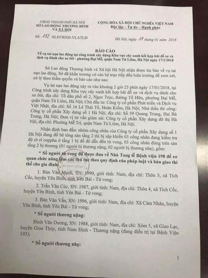 Báo cáo nhanh của Sở Lao động thương binh và Xã hội về vụ sập giàn giáo tại phường Đại Mỗ.