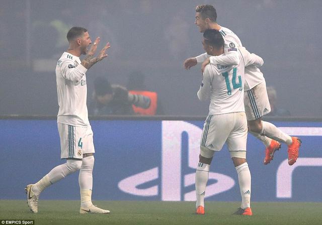 Real tiến vào tứ kết sau khi đánh bại PSG với tổng tỉ số5-2sau hai lượt trận. (Ảnh: Empics Sport)