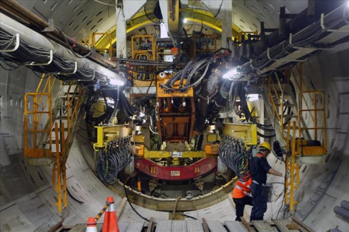 Hầm metro thứ hai - chiều từ Ba Son về Nhà hát TP đã đào được gần 400m, dự kiến tháng 6.2018 hoàn thành. Ảnh: C.N-M.Q