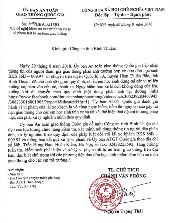 Công văn gửi đến Công an tỉnh Bình Thuận.