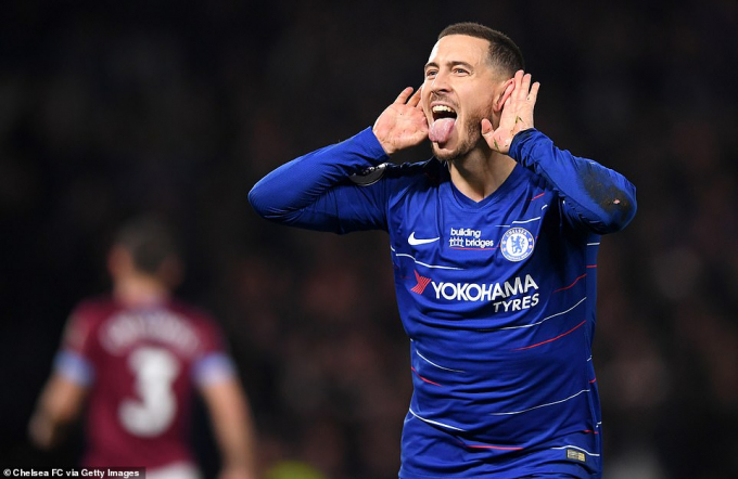 Hazard ghi bàn thắng mở tỷ số cho Chelsea. (Ảnh: Getty Images)