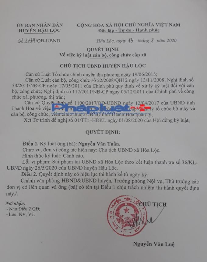 Quyết định số 2734/QĐ-UBND về việc kỷ luật cán bộ, công chức cấp xã.