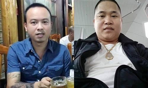 Hai nghi phạm chính của vụ án là Trần Hùng Dũng (áo xanh) và Đặng Văn Đại đến cơ quan điều tra đầu thú sau đó.