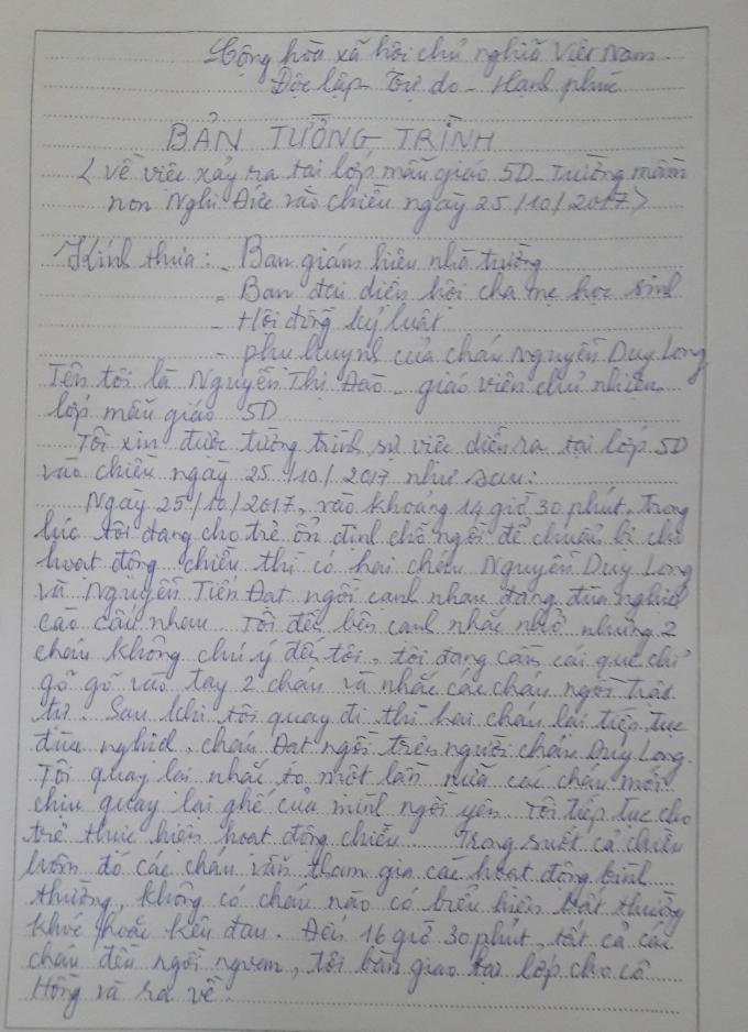 Bản tường trình của cô Đào liên quan đến sự việc.