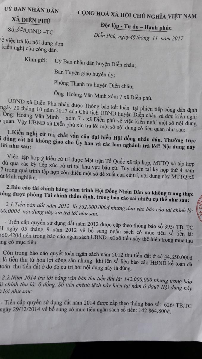 Văn bản trả lời của UBND xã Diễn Phú liên quan đến những vấn đề cử tri phản ánh.