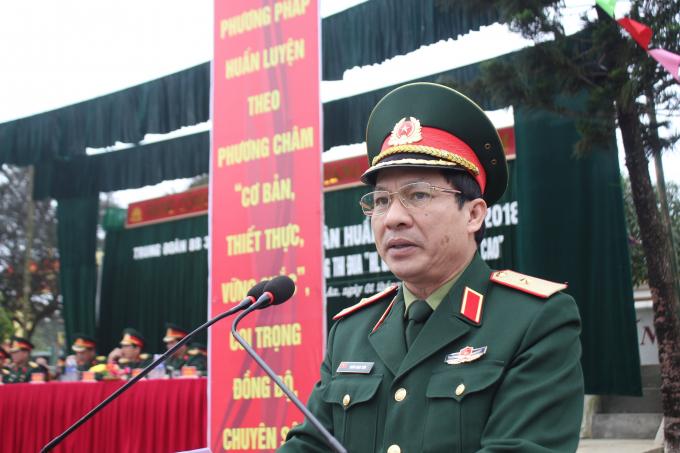 Thiếu tướng Doãn Ngọc Sơn phát biểu tại buổi lễ.