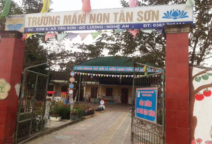 Trường mầm non xã Tân Sơn nơi xảy ra sự việc.