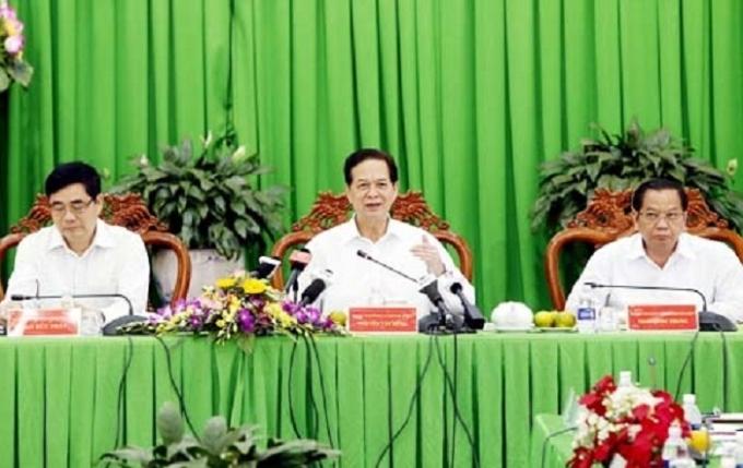 Thủ tướng Nguyễn Tấn Dũng phát biểu tại buổi làm việc. (Ảnh: TTXVN)
