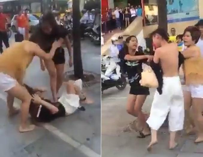 Vụ đánh ghen kinh hoàng giữa bốn người phụ nữ với cô gái trẻ. (Ảnh: Cắt từ Clip).