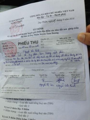 Phiếu thu 20 triệu đồng/hộ của UBND xãDuy Phiên.