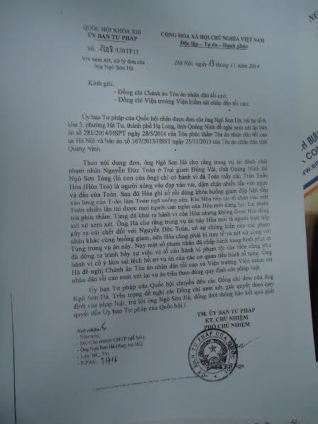 Ủy ban Tư pháp của Quốc hội đã từng có văn bản đề nghị Chánh án TANDTC và Viện trưởng VKSNDTC xem xét lại vụ án theo quy định.