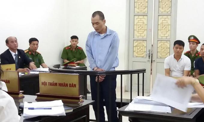 Bị cáo Hùng tại phiên tòa.