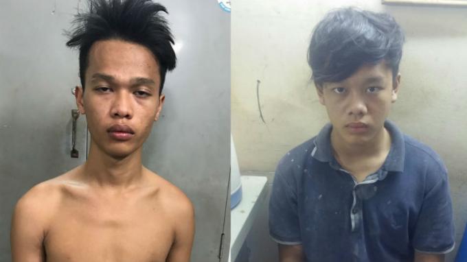 2 anh em ruột Nguyễn Văn Trí (trái) và Nguyễn Trường Giang tại cơ quan công an. (Ảnh: báo Vietnamnet)
