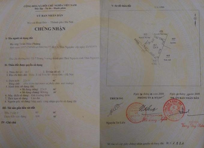 Sổ đỏ nhà ông Trần Hữu Phùng thể hiện 1,83m đang tranh cãi là đất công.