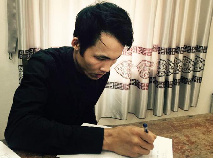 Ngô Thanh Quang tại cơ quan điều tra. (Ảnh: báo Công an nhân dân)