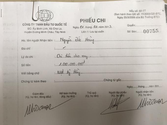 Công ty TNHH Đầu tư Quốc tế chứng minh việc chuyển tiền cho ông Hoàng.