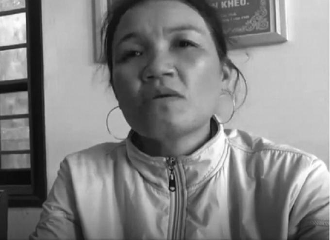 Bà Trần Thị Vy trình báo sự việc với cơ quan công an.