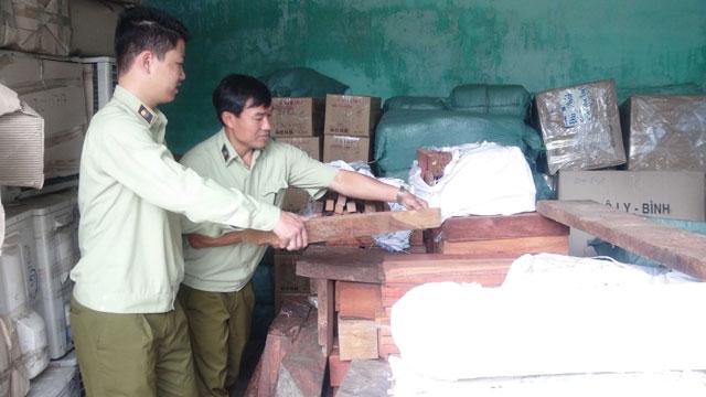 Lực lượng chức năng tạm giữ số gỗ không rõ nguồn gốc. (Ảnh: báo Nhân dân)