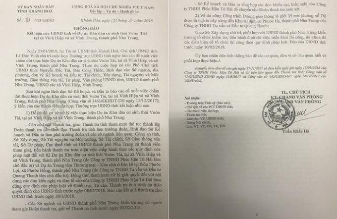 Thông báo kết luận của UBND tỉnh Khánh Hòa về dự án Vườn Tài.