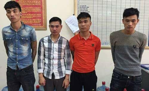 Nhóm đối tượng bị công an bắt giữ.