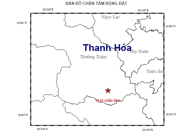 Bản đồ chấn tâm trận động đất.