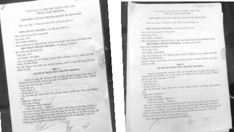 """Cùng một Hợp đồng nhưng bản lưu tại UBND xã Vạn Thạnh có """"9 chữ cốt tử"""" mà bản giao cho ông T không hề có."""
