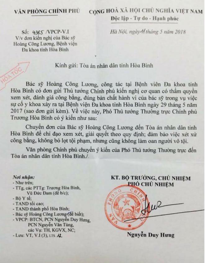 Công văn của Văn phòng Chính phủ gửi Tòa án nhân dân tỉnh Hòa Bình.