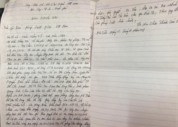Đơn thư ông Vỹ gửi đến Tòa soạn Pháp luật Plus.