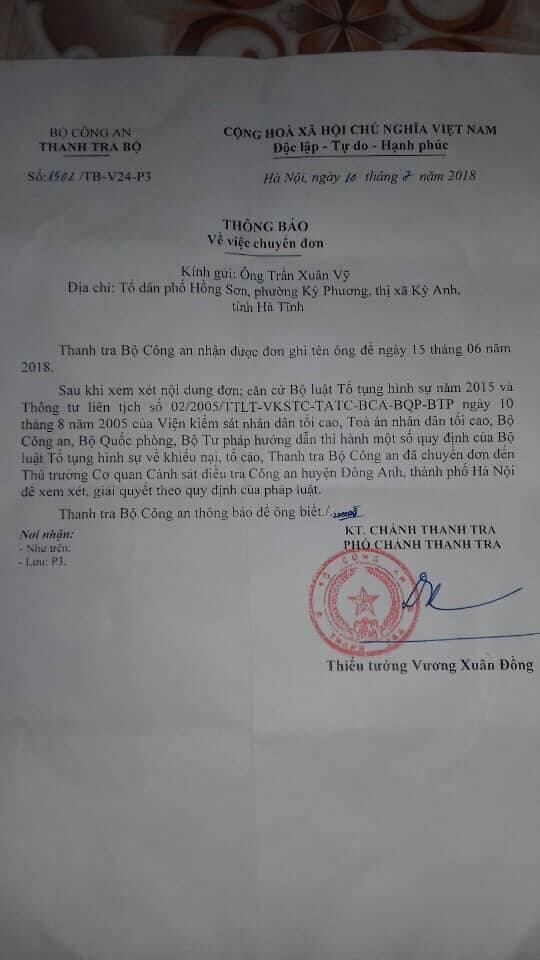 Phiếu chuyển đơn của Thanh tra Bộ Công an.