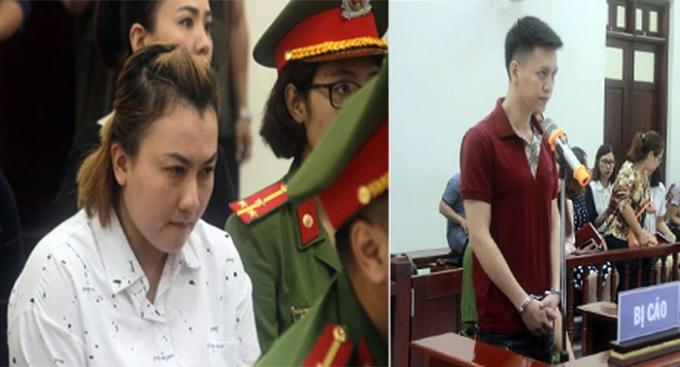 Vợ chồng bị cáo Nam và Trinh tại tòa.