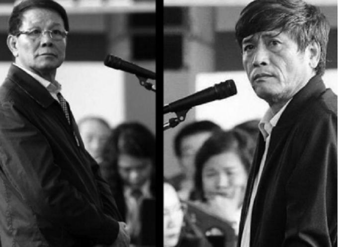 Hai cựu tướng công an trong phiên tòa.