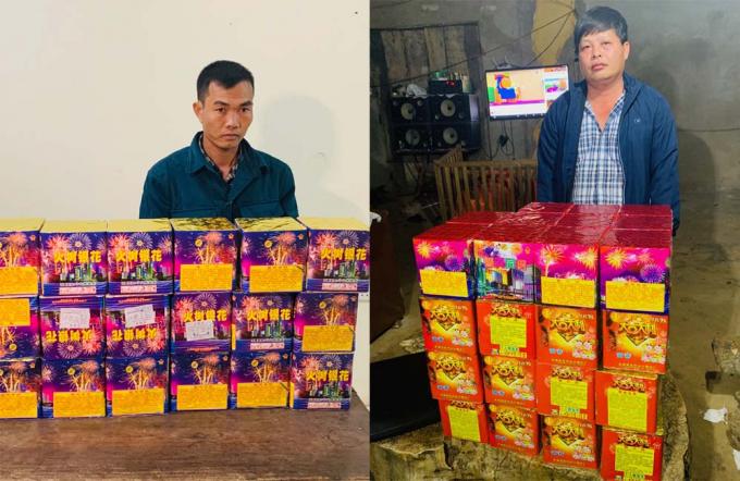 Đối tượng Bùi Đình Trung (trái) và Lê Minh Toàn cùng số pháo thu giữ.