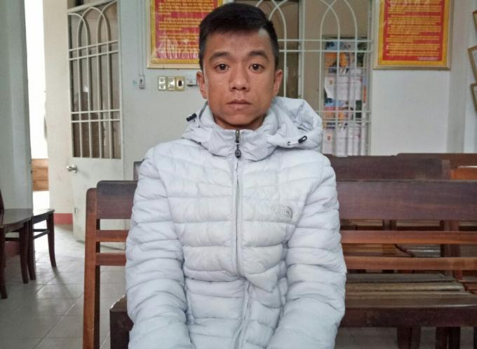 Đối tượng Nguyễn Hữu Nghĩa tại cơ quan công an.