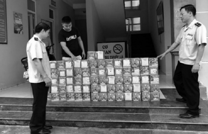 Pháo lậu bị Đội Kiểm soát Hải quan Hà Giang bắt giữ.