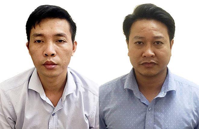 Nguyễn Khắc Tuấn (bên phải) và Đỗ Mạnh Tuấn. Ảnh: Công an cung cấp