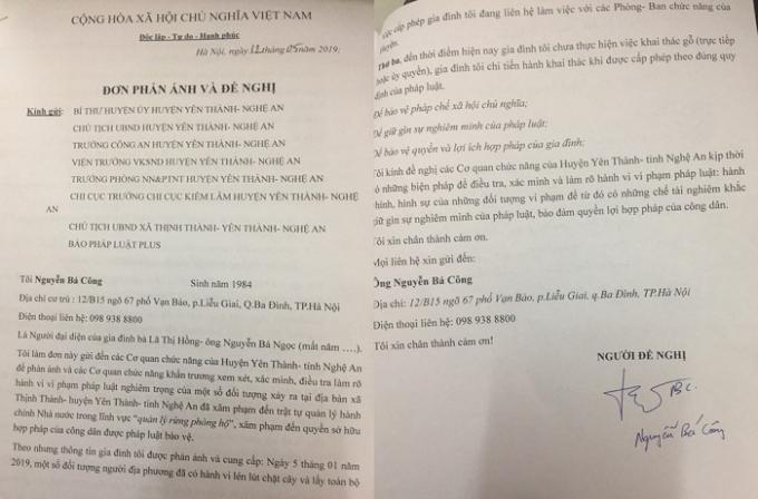 Đơn thư ông Nguyễn Bá Công gửi đến tòa soạn Pháp luật Plus.